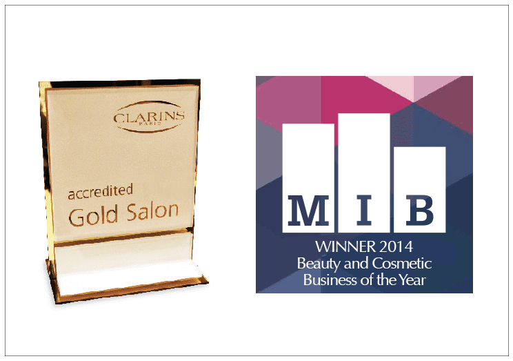 picture of gold salon award from clarins and the MIB award for Beauty and Cosmetic Business of the Year 2014