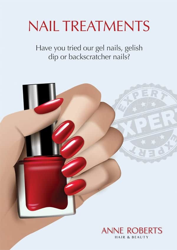 illustration of a hand holding a bottle of nail varnish with an expert badge and some text