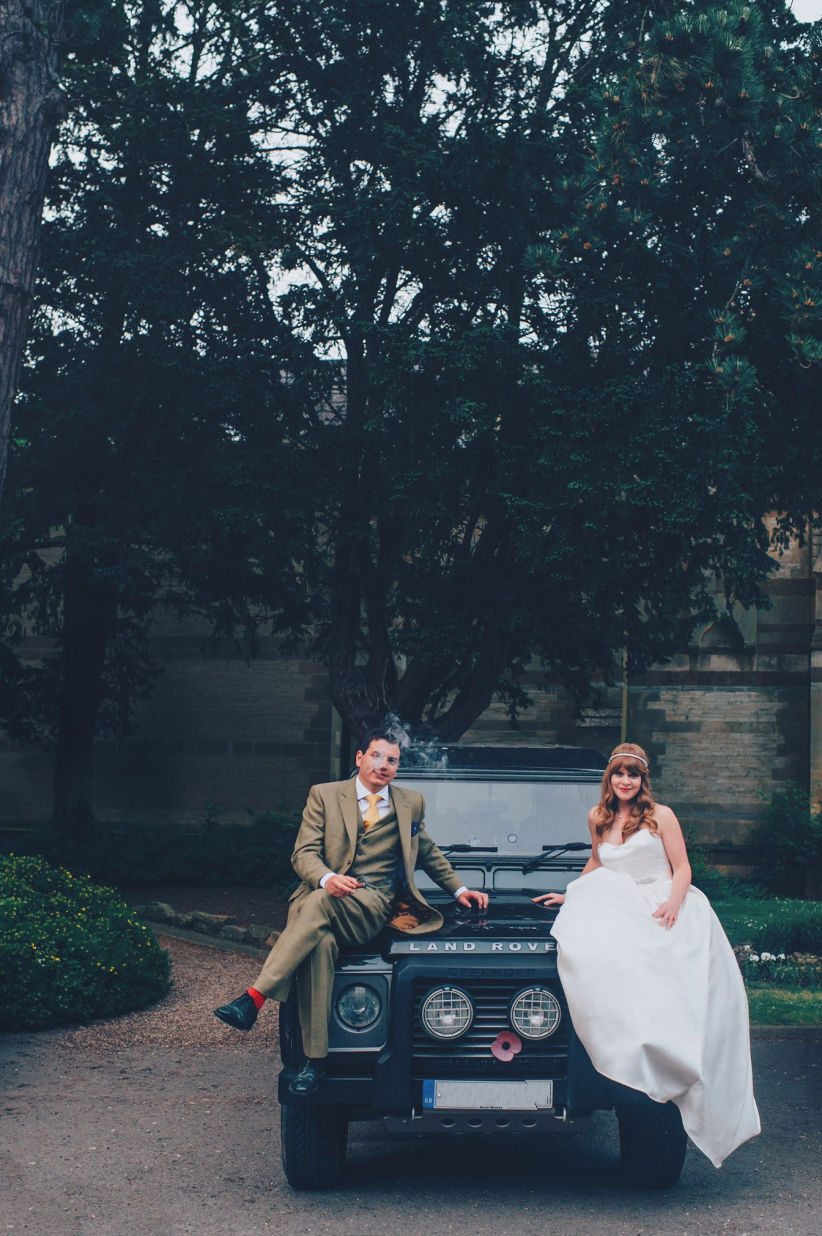 ettington-park-hotel-evening-portrait-bride-groom-landrover