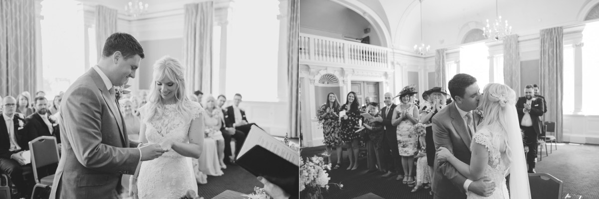 chelsea town hall wedding kiss