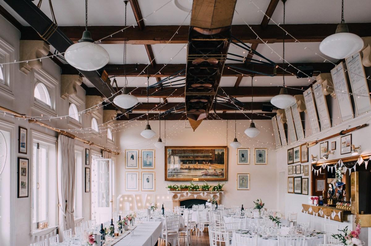 romatic boho wedding decorations at london rowing club