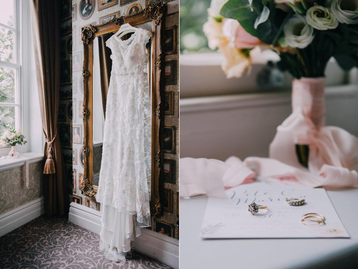 bridal bouquet pastel pink ribbon allure lace dress
