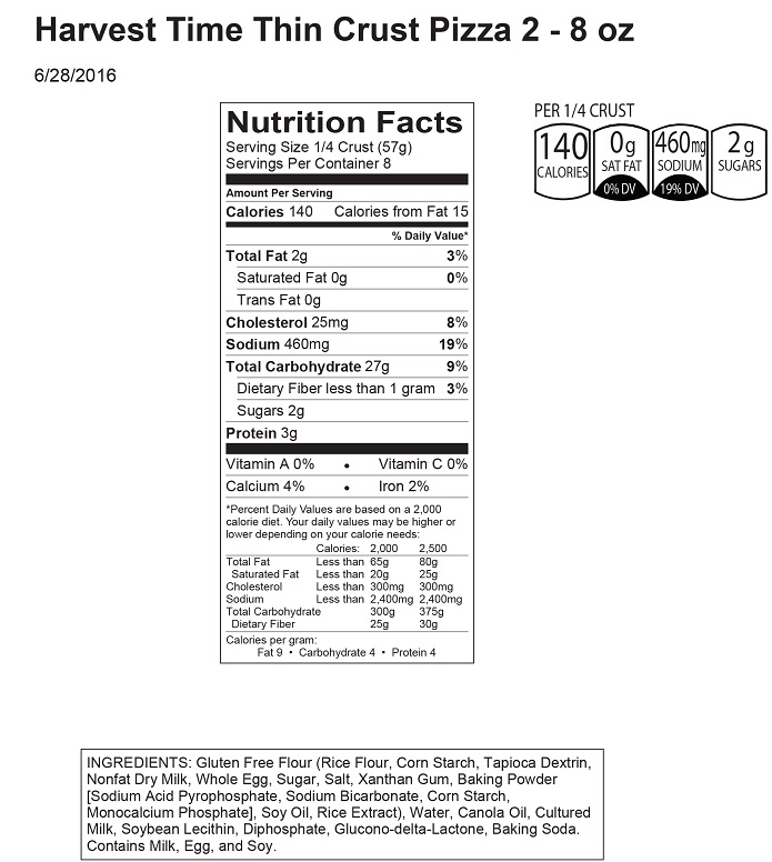 160710 Harvest Time Thin Crust Pizza 2 - 8 oz Nut Facts with Can