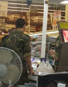 some soldiers checking out at the grocery, as I write this post....