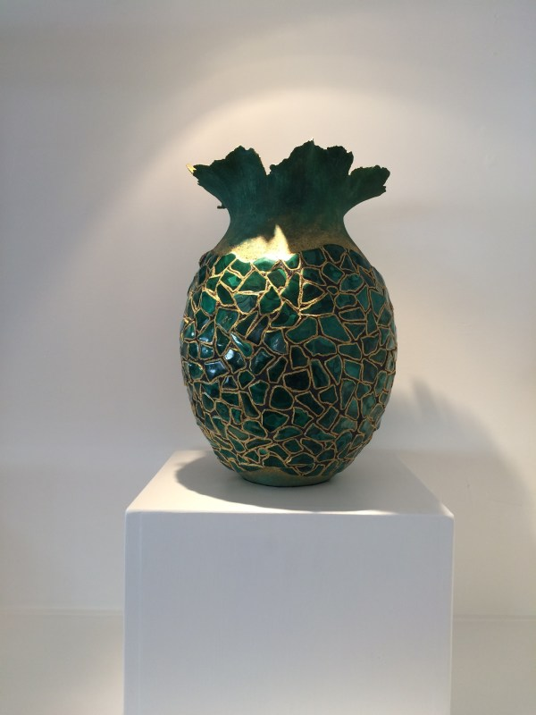 Malachite Vase With Silica Carbide And Gold - Anne Thull