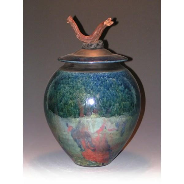 Copper Lithium Raku Fired Vase - Anne Thull Fine Art Design