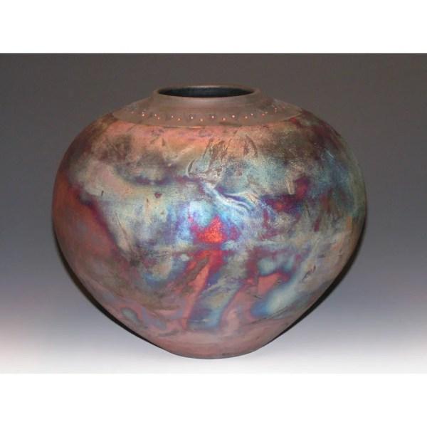Copper San Raku Fired Vase With Imprinted Rim - Anne Thull