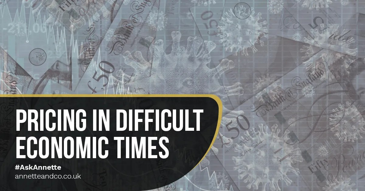 a blog featured image banner entitled pricing in difficult economic times