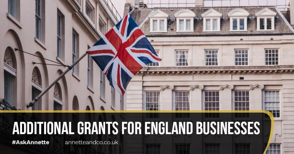 a featured blog image entitled additional grants for england businesses