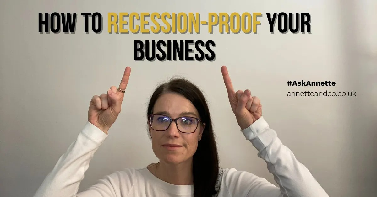 a blog featured image which has the topic focus of how to recession proof your business