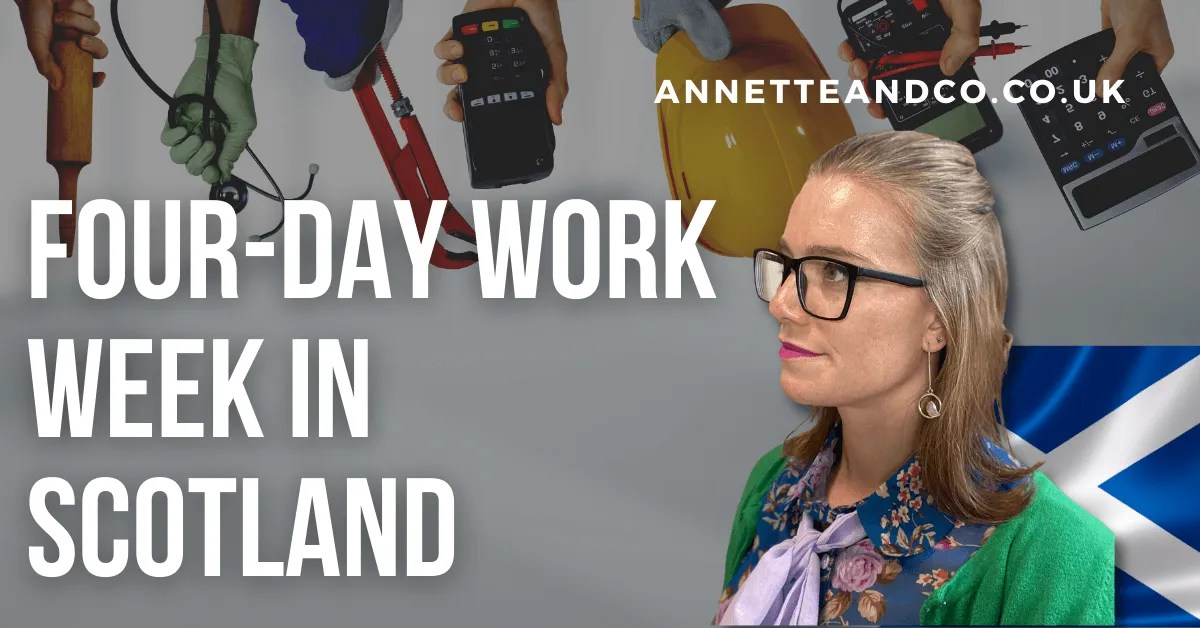 a blog featured image with a topic title about Scotland Posed to Try Four-Day Work Week
