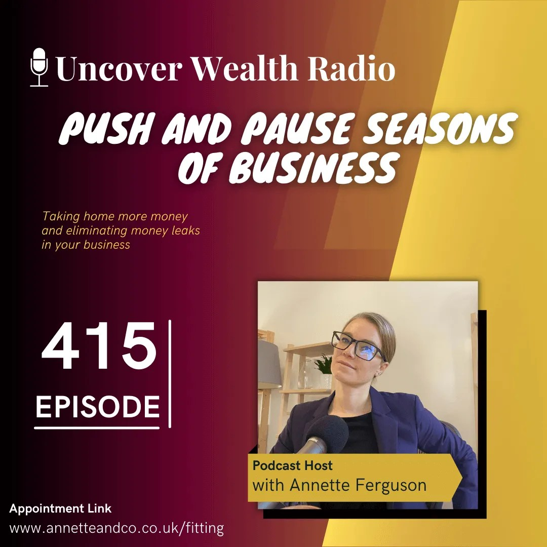 Annette Ferguson Podcast Banner of Uncover Wealth Radio Episode 415 with a topic title about Push and Pause Seasons of Business