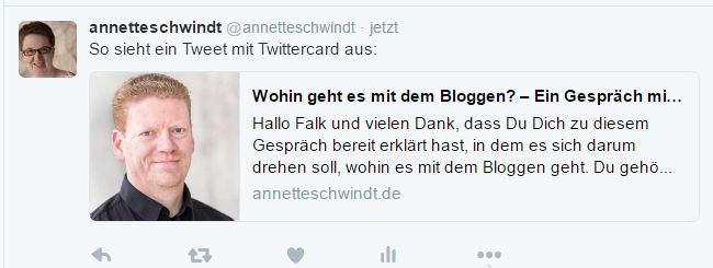 Shareoptimiertes Tweet mit Twitter Card