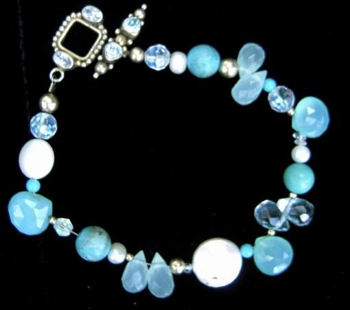 Blue topaz pearls chalcedony bracelet