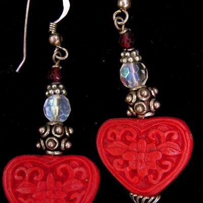 Cinnabar heart earrings