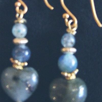 Labradorite heart vermeil kyanite earrings