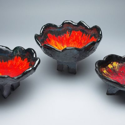 Orange, Red and Yellow Ceramic Bowls - Red bowl set