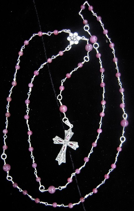 Ruby silver rosary with marcasite garnet cross