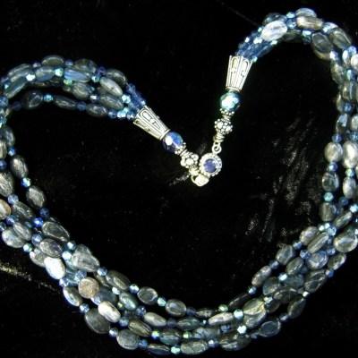 Spectrolite swarovski crystal necklace