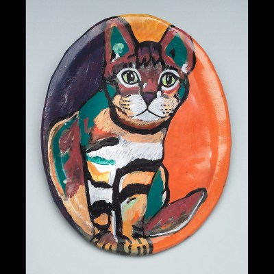 Staring cat plate