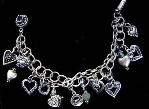 Sterling silver heart double strand bracelet