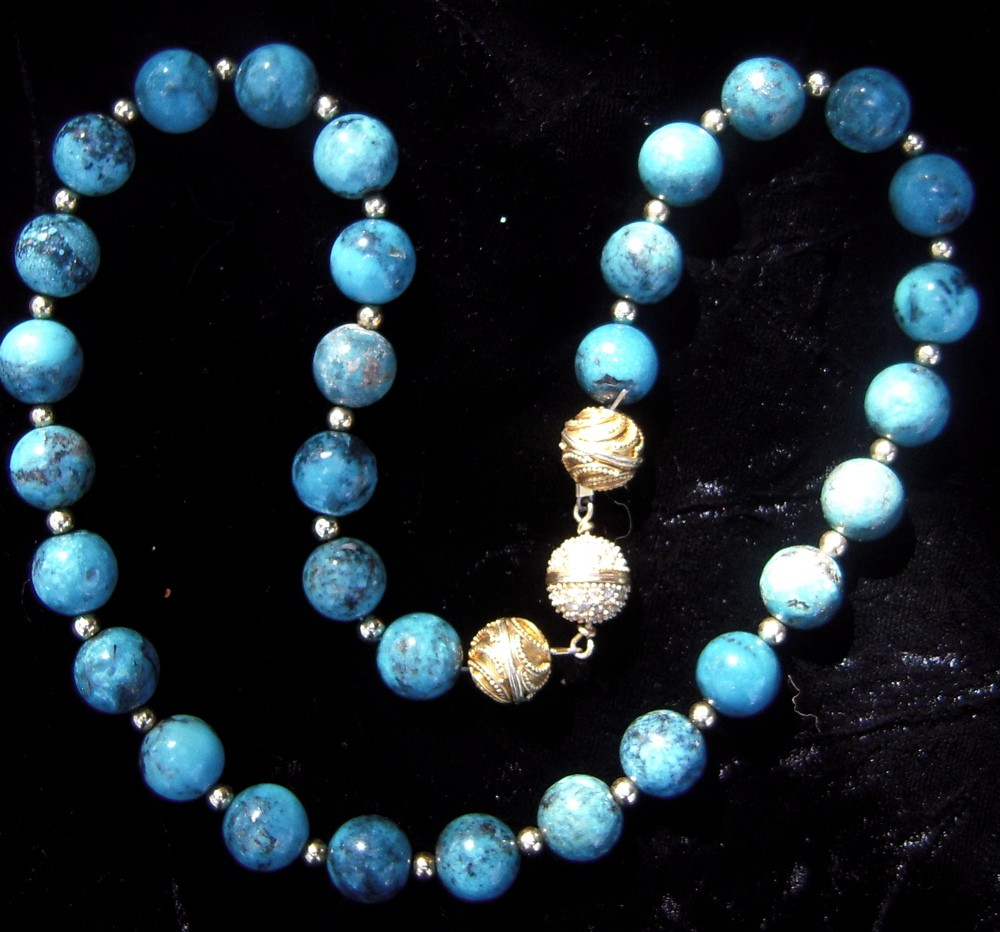 c56c87060203 Turquoise Beads Necklace with Gold Plate Spacer Beads - Ann Marie ...