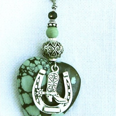 Turquoise heart with silver horseshoe and boot