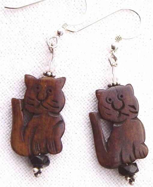 Wooden cat earrings