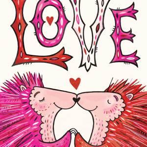 Valentine Card: Porcupines