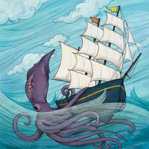 Giant Squid and the Ship: for JP Morgan magazine cover