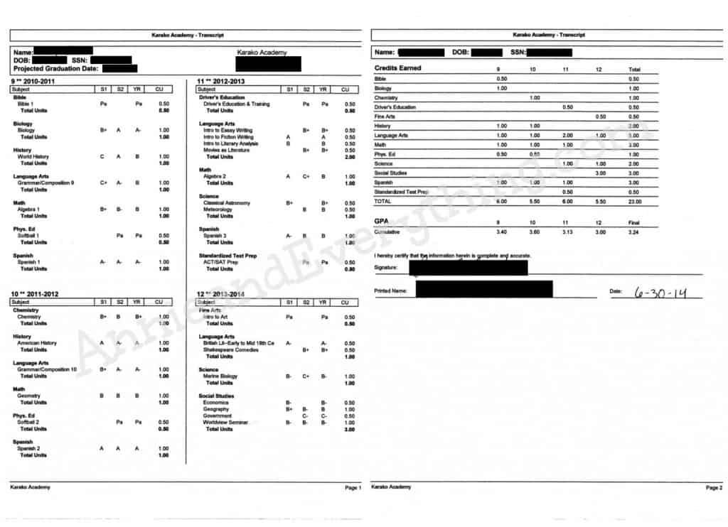 Official vs. Unofficial College Transcripts