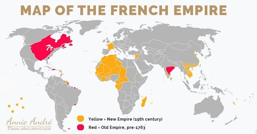 Map of the French empire old and new