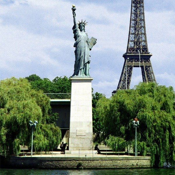 Replica of the Statue of Liberty in Paris on the Seine