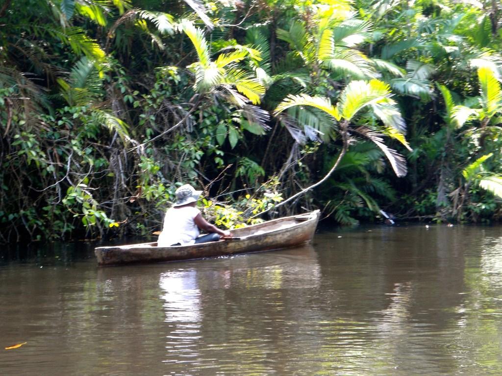 A Garifuna fisherman in the mangrove in Honduras