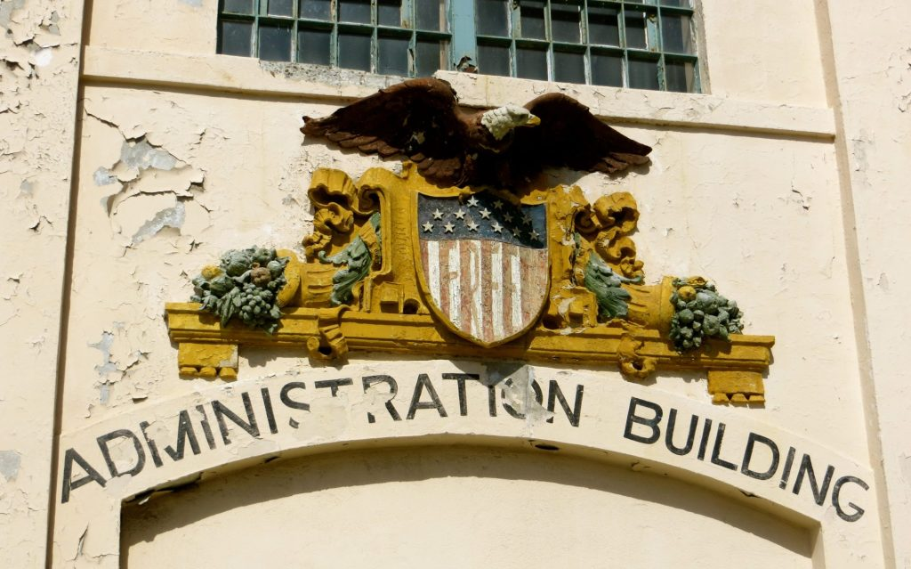 what you can see in alcatraz prison annie anywhere alcatraz prison administration the usa flag and eagle