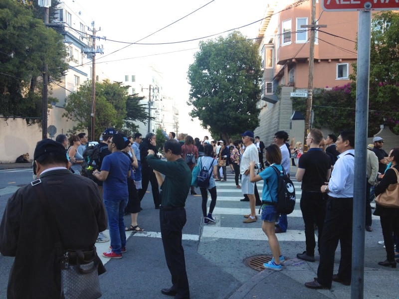 The Crowd near Lombard Street, San Francisco