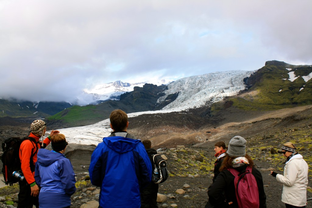 Walking on Vatnajokull Glacier in Iceland