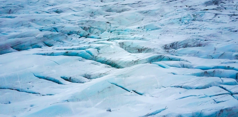 Blue Ice on the Glacier in Iceland