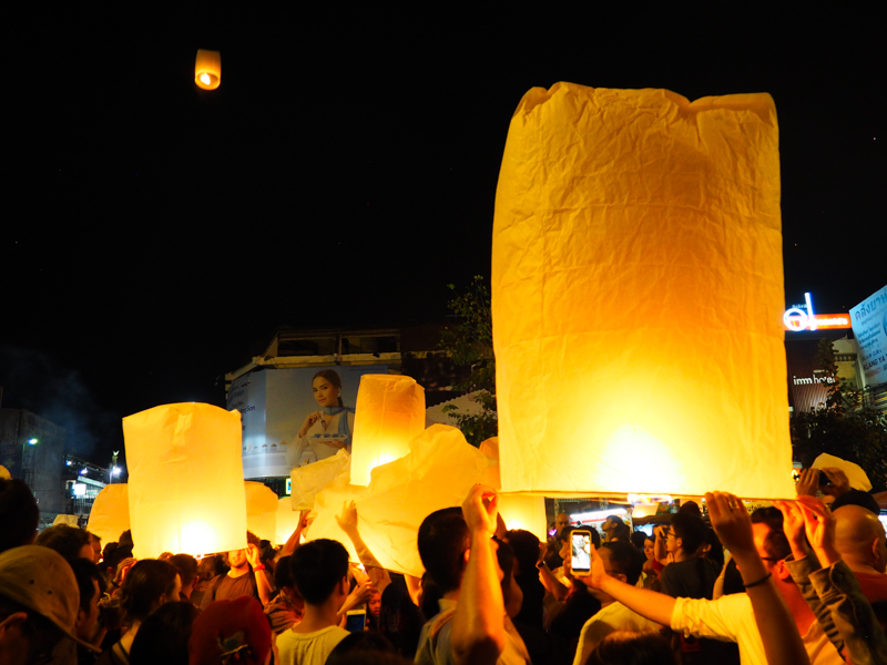 Lanternes au jour de l'an à Chiang Mai.