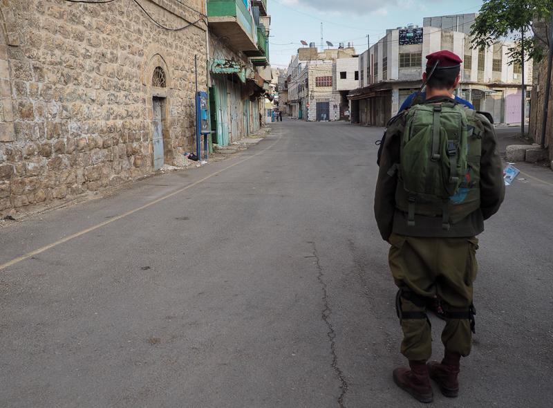 Soldat à Hebron en Palestine.