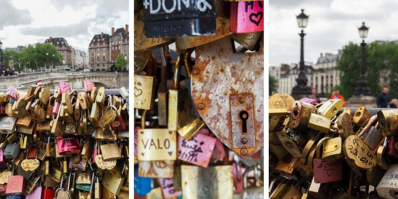 Cadenas d'amour sur le Pont-Neuf à Paris.