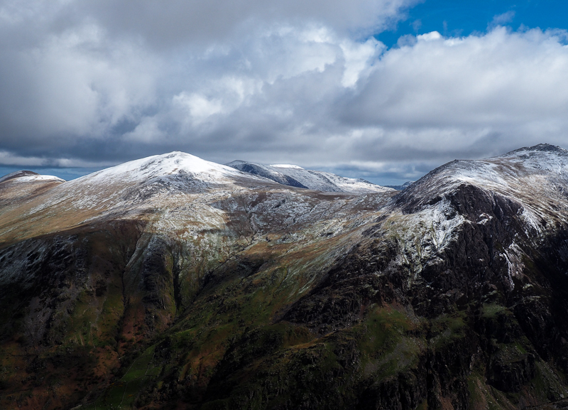 Vue au sommet du mont Snowdon au Pays de Galles.