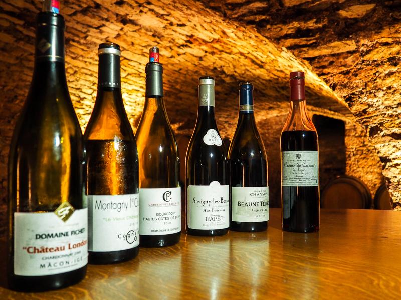 Vins dégustés au Cellier de la Cabillotte à Beaune.