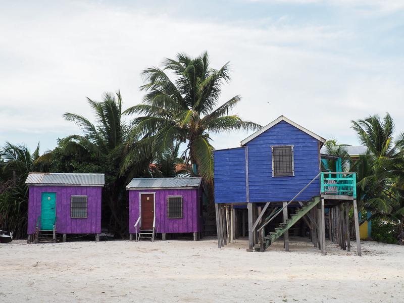 Cabanes en bois colorées croisées en me promenant à vélo sur l'île de Caye Caulker.