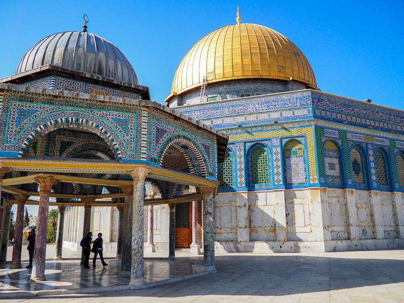Architecture du Dôme du Rocher dans le quartier musulman de Jerusalem