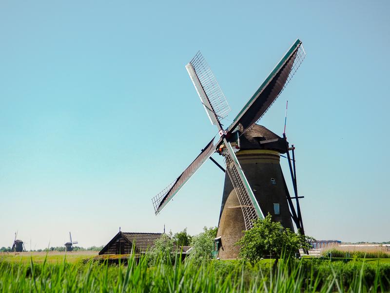 moulin à vent en Hollande en été devant un ciel sans nuage