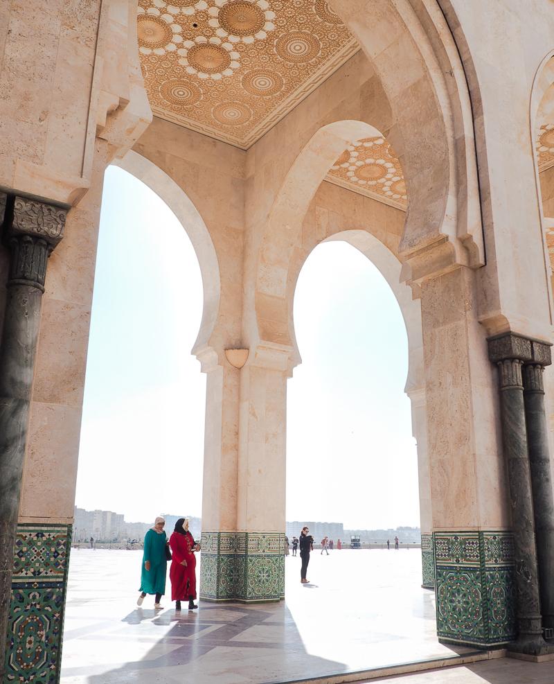 Début de l'itinéraire au Marco par la mosquée Hassan II de Casablanca