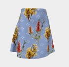 Cute Australian Native Floral Skirt – Blue and White – Yellow and Red – Wattle and Bottlebrush – Australian Native Flowers