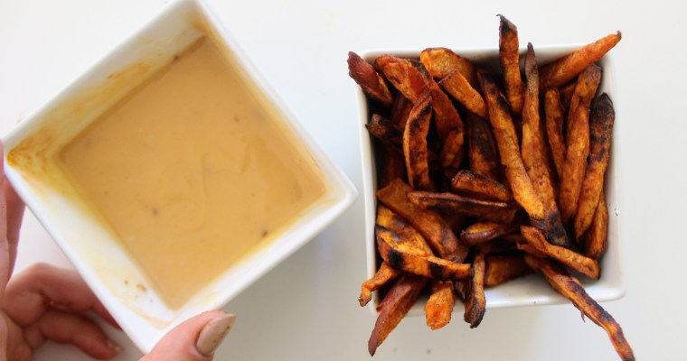 Cinnamon Sweet Potato Fries with Spicy Honey Mayo dressing