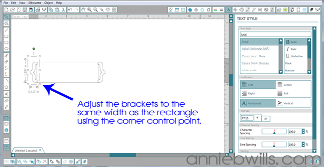 Designing Simple Tag Shapes in Silhouette Studio by Annie Williams - Adjusting Brackets